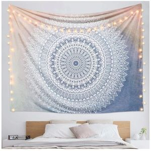 Large pink and blue mandala tapestry